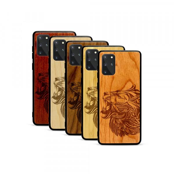 Galaxy S20+ Hülle Löwenkopf aus Holz