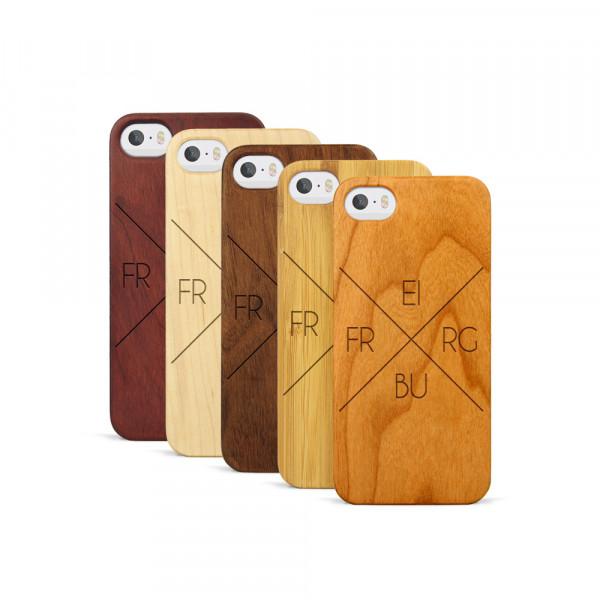 iPhone 5, 5S & SE Hülle Freiburg X-Cross aus Holz