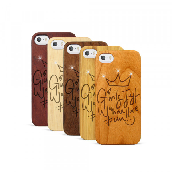 iPhone 5, 5S & SE Hülle Girls wanna have fun Swarovski® Kristalle aus Holz