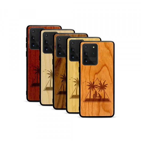 Galaxy S20 Ultra Hülle Palmen und Meer aus Holz