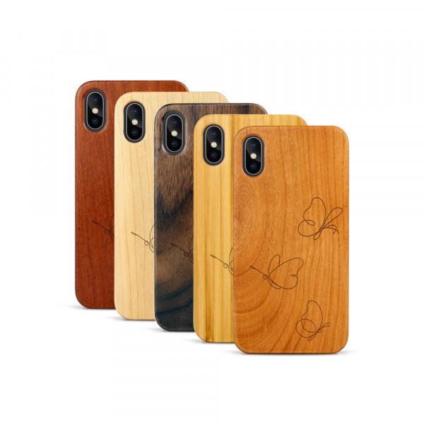 iPhone X & Xs Hülle Butterflies aus Holz