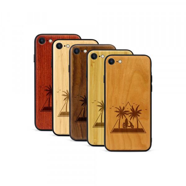iPhone 8 & SE Hülle Palmen und Meer aus Holz