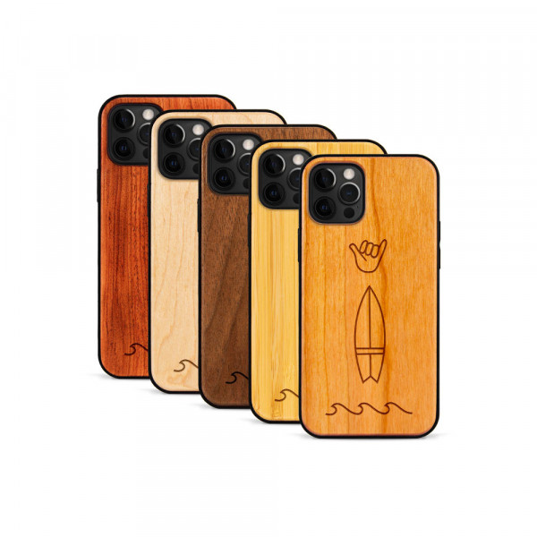 iPhone 12 Pro Max Hülle Surf Icons aus Holz
