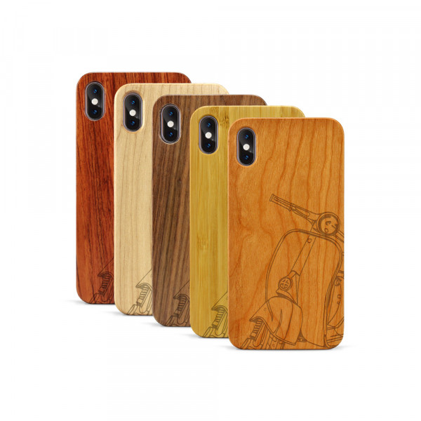 iPhone XS Max Hülle Moped Silhoutte aus Holz