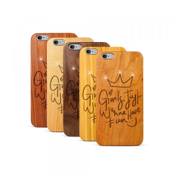 iPhone 6 & 6S Plus Hülle Girls wanna have fun Swarovski® Kristalle aus Holz