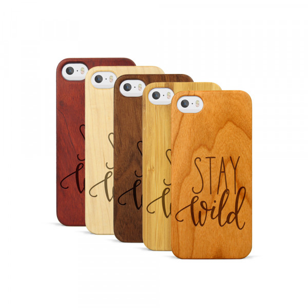 iPhone 5, 5S & SE Hülle Stay Wild aus Holz