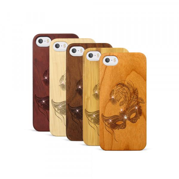 iPhone 5, 5S & SE Hülle Maskenball Swarovski® Kristalle aus Holz