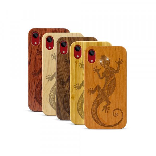 iPhone XR Hülle Gecko Swarovski® Kristalle aus Holz