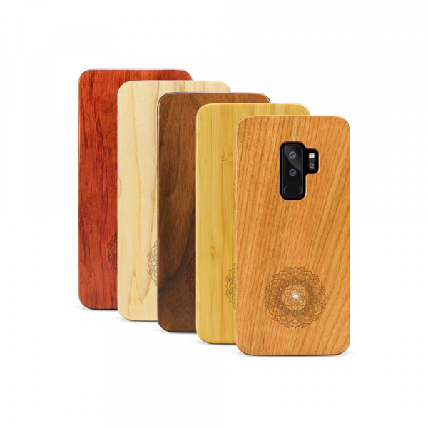 Galaxy S9+ Hülle Mandala Swarovski® Kristalle aus Holz