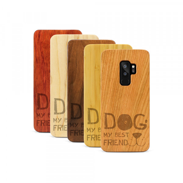 Galaxy S9+ Hülle Dog best friend aus Holz