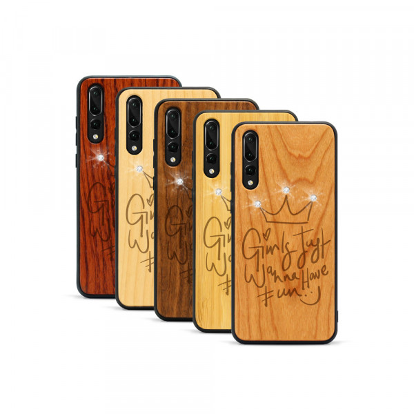 P20 Pro Hülle Girls wanna have fun Swarovski® Kristalle aus Holz