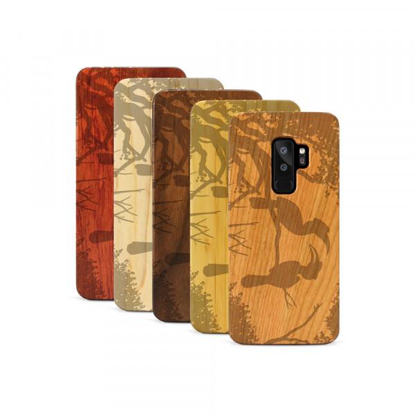 Galaxy S9+ Hülle Wildlife Paradiesvögel aus Holz