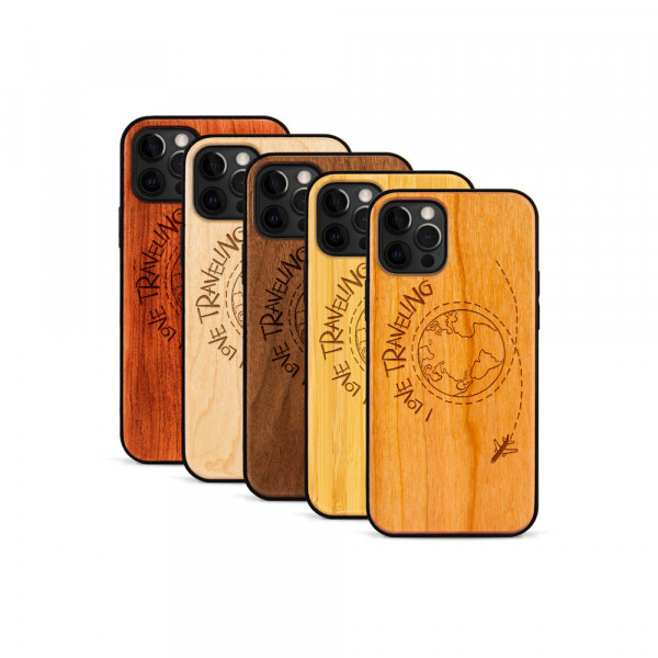 iPhone 12 Pro Max Hülle Love Traveling aus Holz