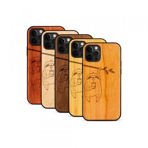iPhone 12 Pro Max Hülle Faultier aus Holz