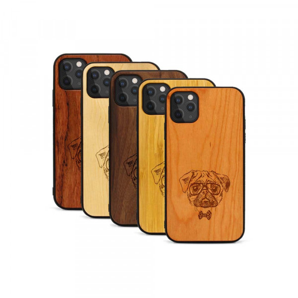 iPhone 11 Pro Hülle Fashion Mops aus Holz