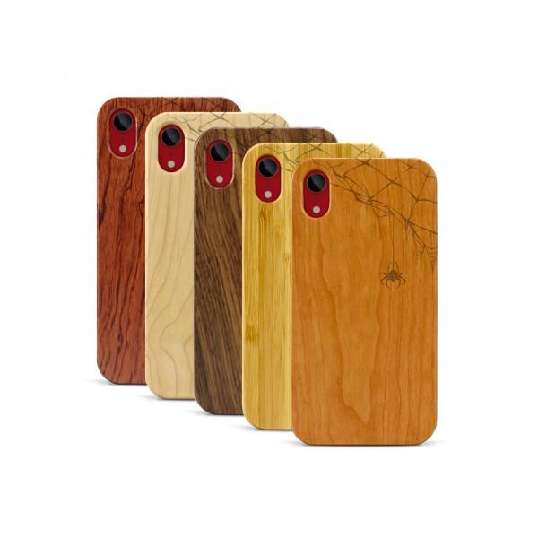 iPhone XR Hülle Spinnennetz aus Holz