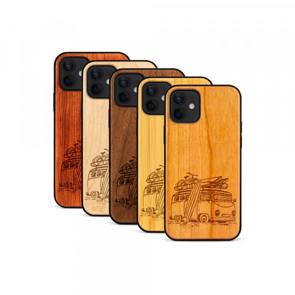 iPhone 12 & 12 Pro Hülle Camper Van aus Holz