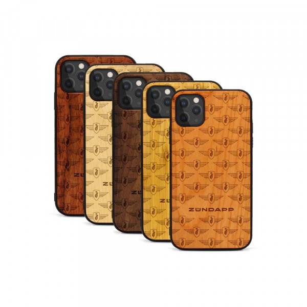 iPhone 11 Pro Max Hülle Zündapp Logo Muster aus Holz