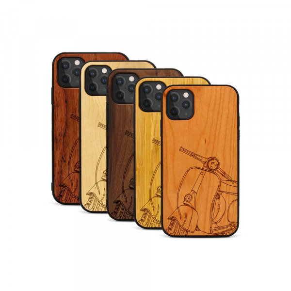 iPhone 11 Pro Max Hülle Moped Silhoutte aus Holz