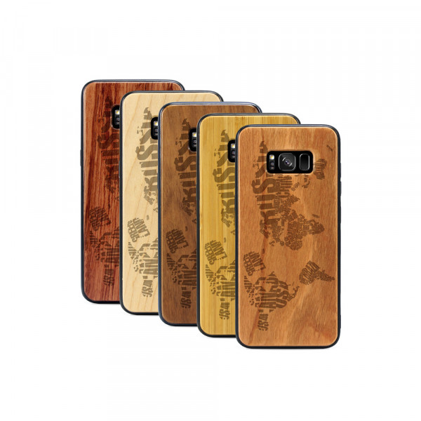 Galaxy S8+ Hülle Ländernamen Weltkarte aus Holz