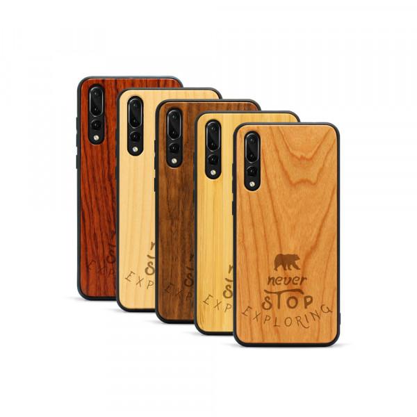 P20 Pro Hülle Never Stop Exploring aus Holz