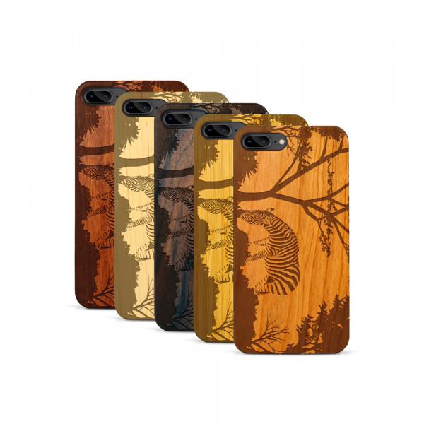 iPhone 7 & 8 Plus Hülle Wildlife Zebra aus Holz