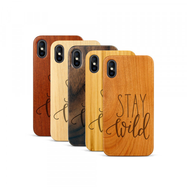 iPhone X & Xs Hülle Stay Wild aus Holz