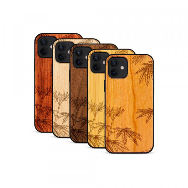 iPhone 12 & 12 Pro Hülle Hanfpflanze aus Holz