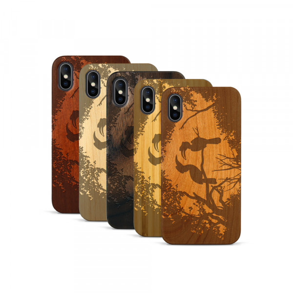 iPhone X & Xs Hülle Wildlife Paradiesvögel aus Holz
