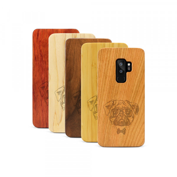 Galaxy S9+ Hülle Fashion Mops aus Holz