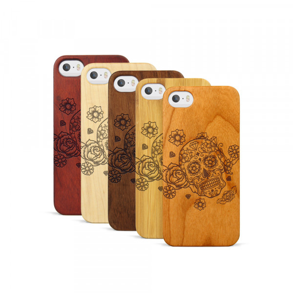 iPhone 5, 5S & SE Hülle Flower Totem aus Holz