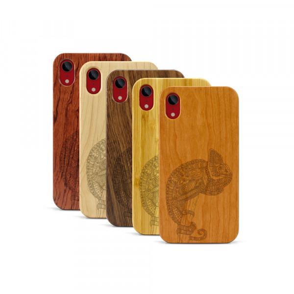 iPhone XR Hülle Chamäleon aus Holz