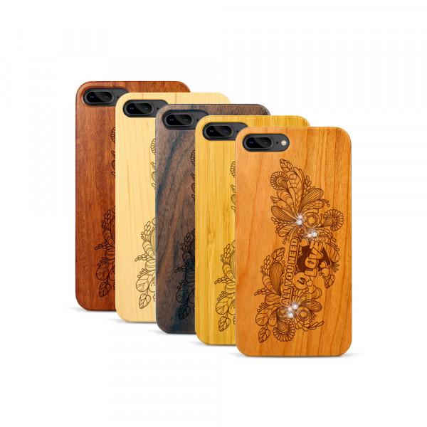 iPhone 7 & 8 Plus Hülle All you need Swarovski® Kristalle aus Holz