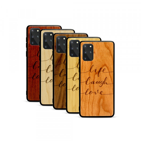 Galaxy S20+ Hülle Life Laugh Love aus Holz