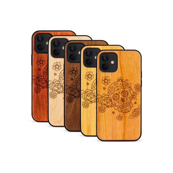 iPhone 12 Mini Hülle Flower Totem aus Holz