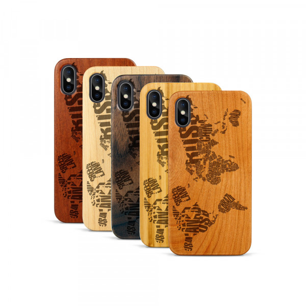 iPhone X & Xs Hülle Ländernamen Weltkarte aus Holz