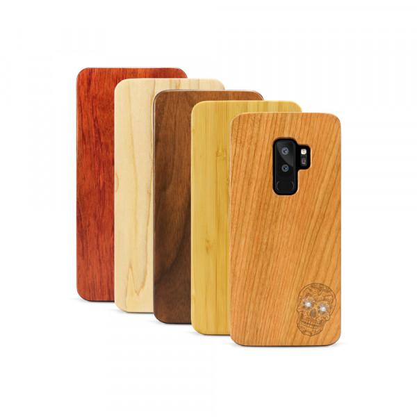 Galaxy S9+ Hülle Totenkopf Swarovski® Kristalle aus Holz