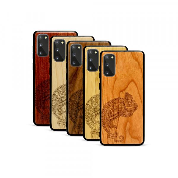 Galaxy S20 Hülle Chamäleon aus Holz