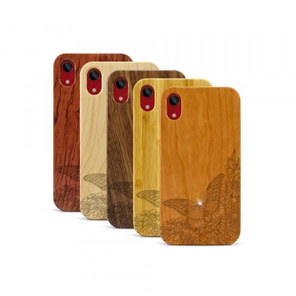 iPhone XR Hülle Schmetterling Swarovski® Kristalle aus Holz