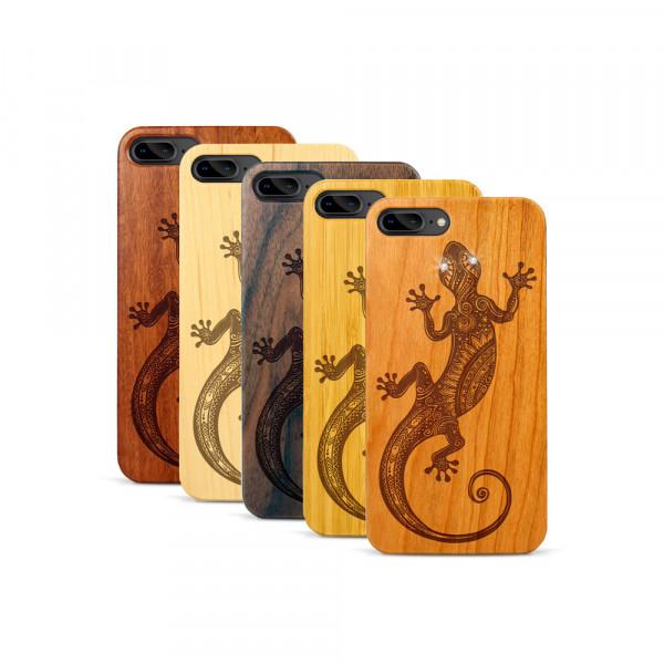 iPhone 7 & 8 Plus Hülle Gecko Swarovski® Kristalle aus Holz