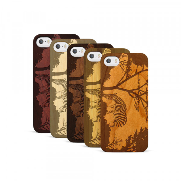 iPhone 5, 5S & SE Hülle Wildlife Zebra aus Holz