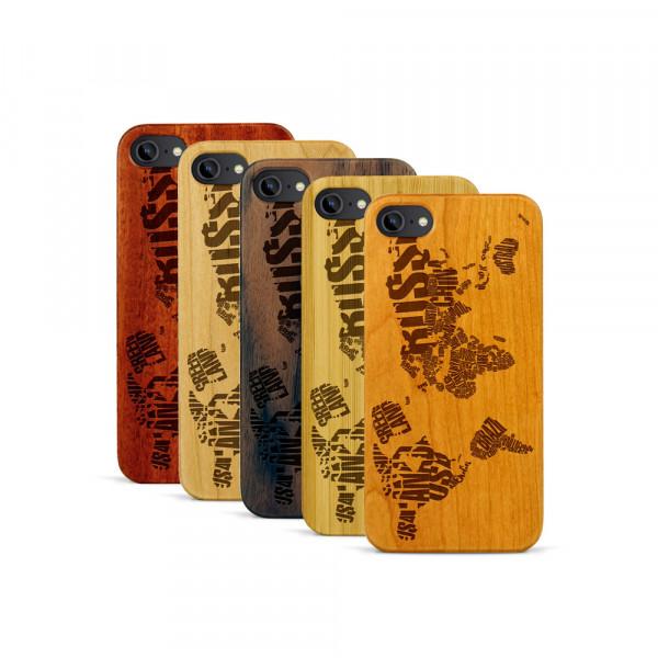 iPhone 7 Hülle Ländernamen Weltkarte aus Holz