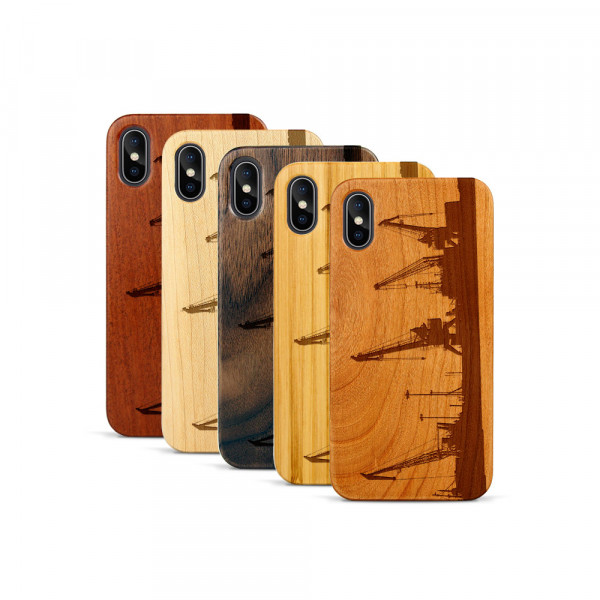 iPhone X & Xs Hülle Industriedesign Kran aus Holz