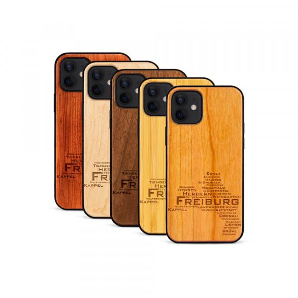 iPhone 12 & 12 Pro Hülle Freiburg Stadtteile aus Holz