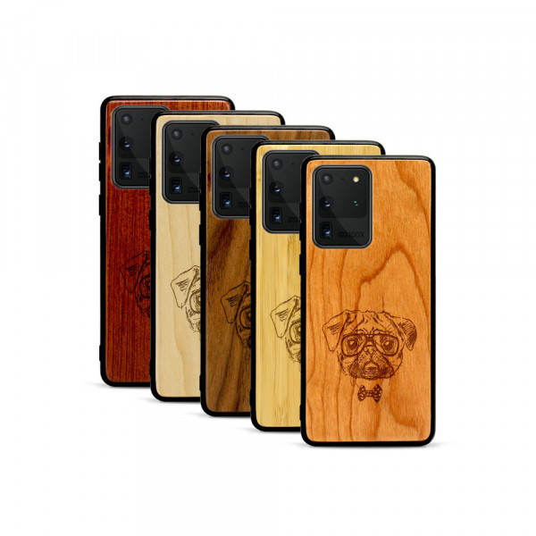 Galaxy S20 Ultra Hülle Fashion Mops aus Holz