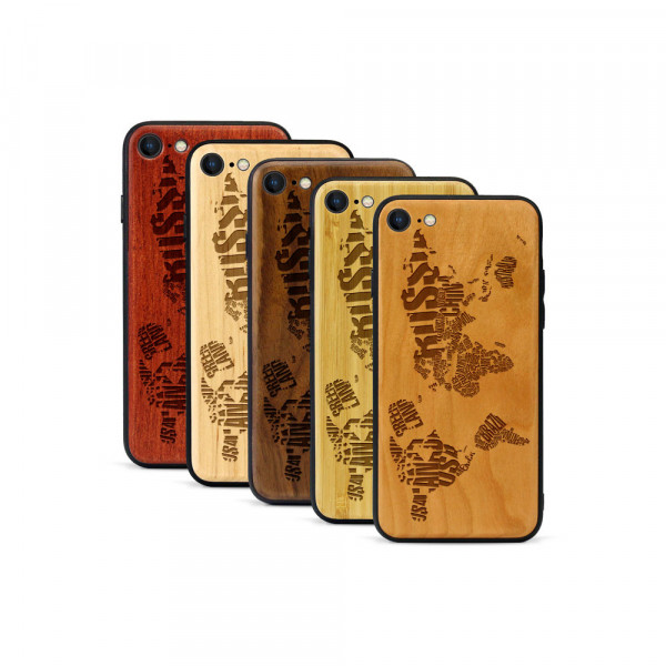 iPhone 8 & SE Hülle Ländernamen Weltkarte aus Holz