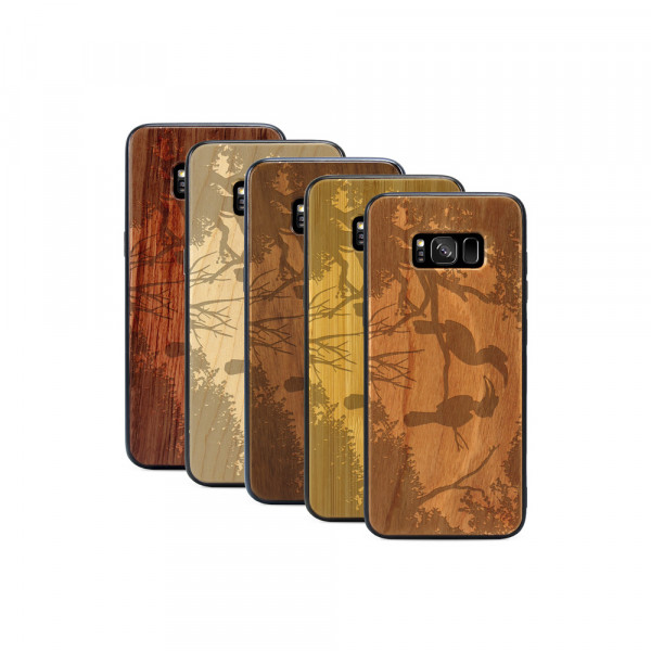 Galaxy S8+ Hülle Wildlife Paradiesvögel aus Holz
