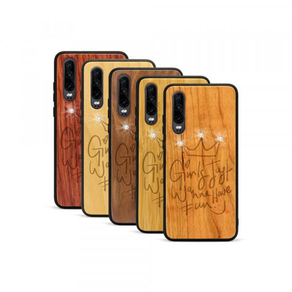 P30 Hülle Girls wanna have fun Swarovski® Kristalle aus Holz
