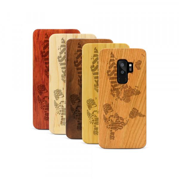 Galaxy S9+ Hülle Ländernamen Weltkarte aus Holz