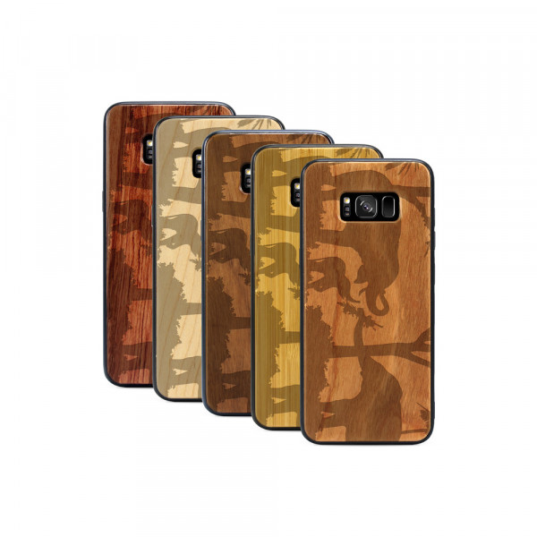 Galaxy S8+ Hülle Wildlife Elefantenfamilie aus Holz